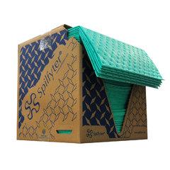 "Spilfyter 16"" x 18"" Premium Green HW Universal Absorbent Pad 100/Box"