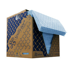 """Spilfyter 16"""" x 18"""" Premium Oil-Only Blue LW Perfed Absorbent Pad 200/Box"""