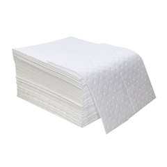 """Spilfyter 16"""" x 18"""" Standard White Oil-Only LW Absorbent Pad 100/Box"""