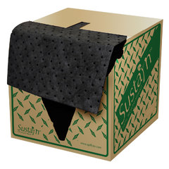 "Buy Spilfyter 16"" x 18"" Sustayn Recycled Universal Black LW Perfed Absorbent Pad 200/Box on sale online"